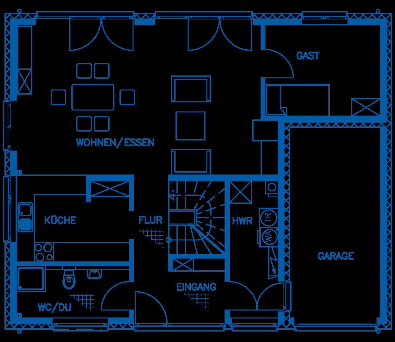 Grundriss Erdgeschoss Haus Maiwald PN1680