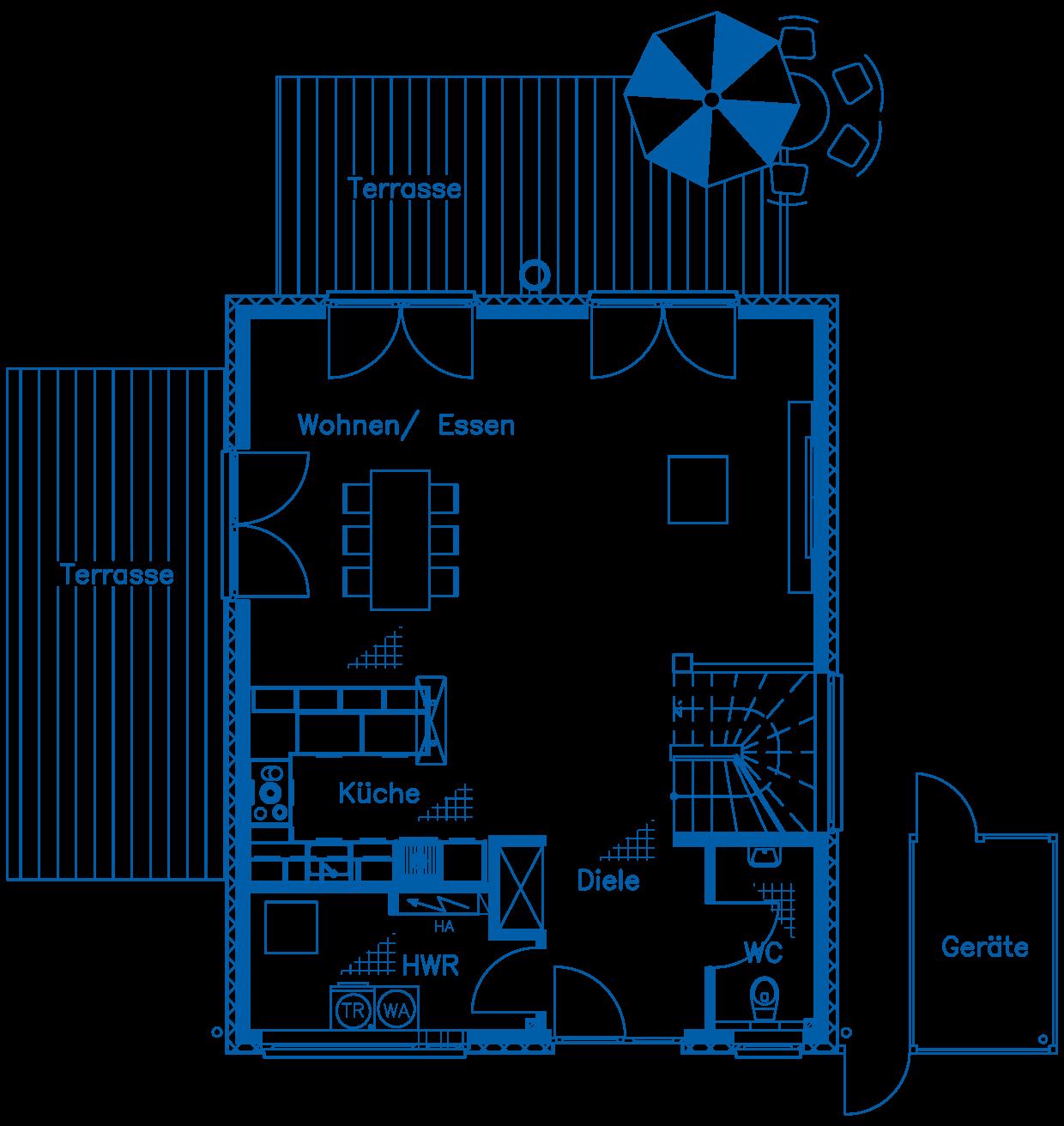 Grundriss Erdgeschoss Haus Vollstedt PN1830