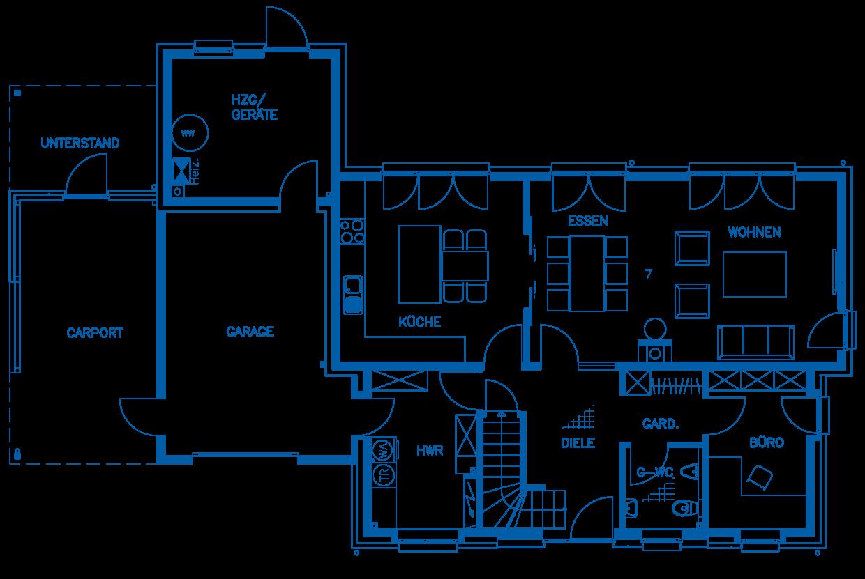 Grundriss Erdgeschoss Haus Querfurt PN1840