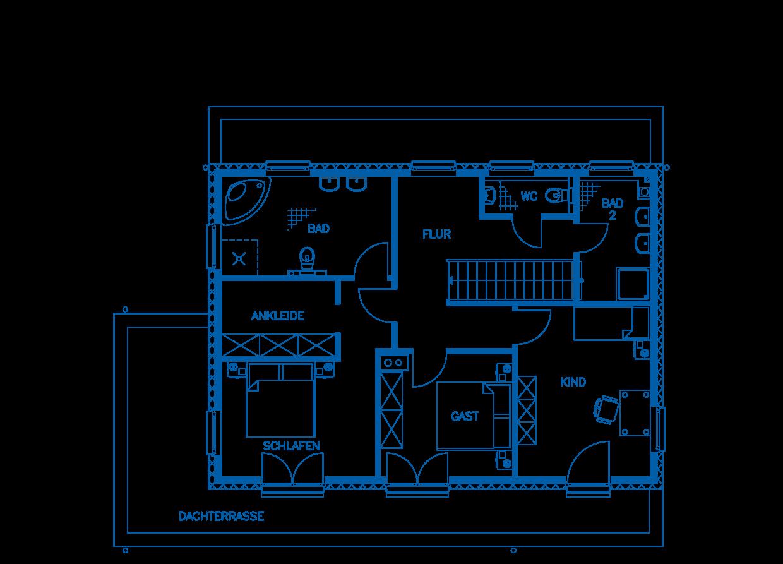 Grundriss Dachgeschoss Haus Jakobi PN1845