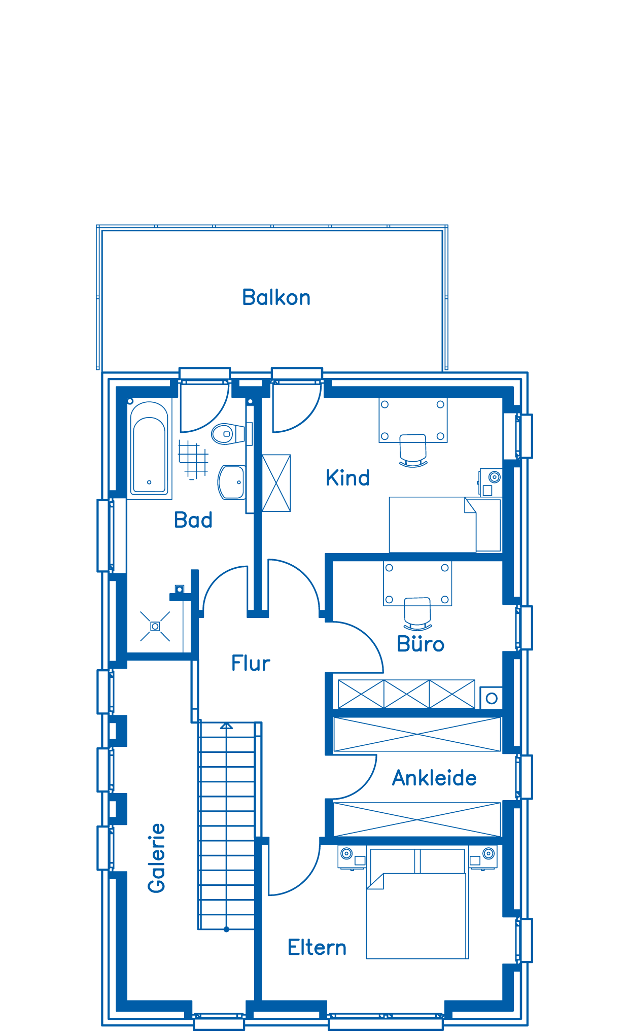 Grundriss Obergeschoss Haus Nicolay PN2183