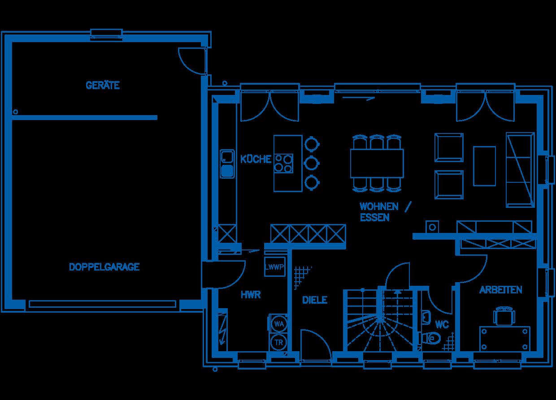 Grundriss Erdgeschoss Haus Kaulard PN2224