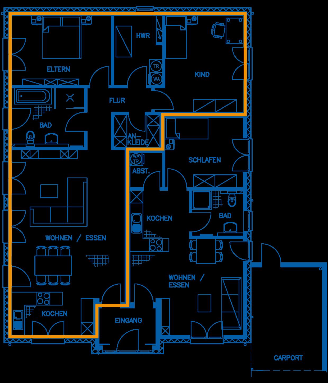Grundriss Erdgeschoss Haus Rautenberg PN2260 WHG1
