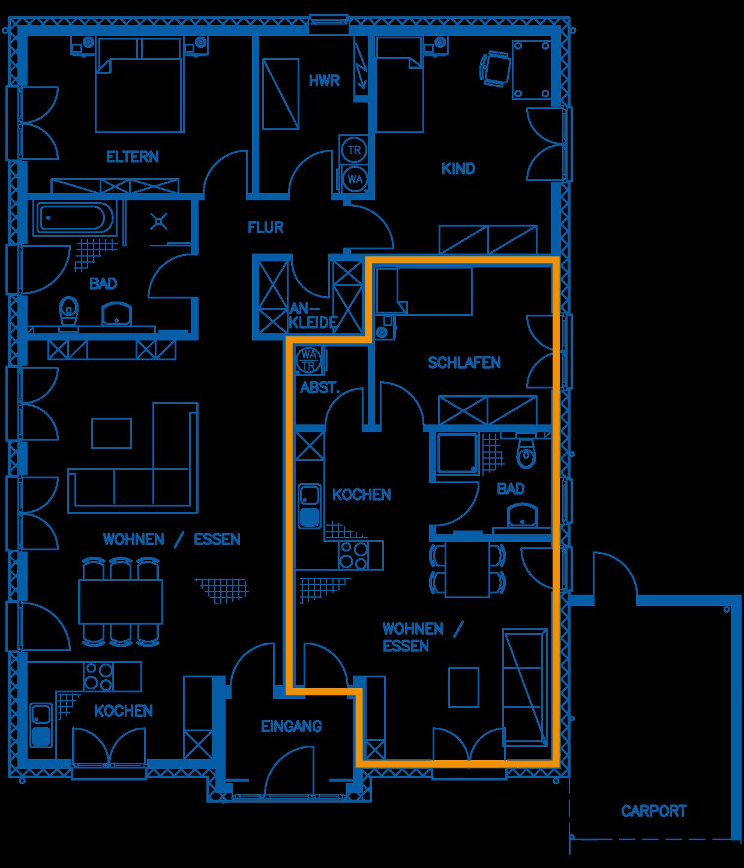 Grundriss Erdgeschoss Haus Rautenberg PN2260 WHG2