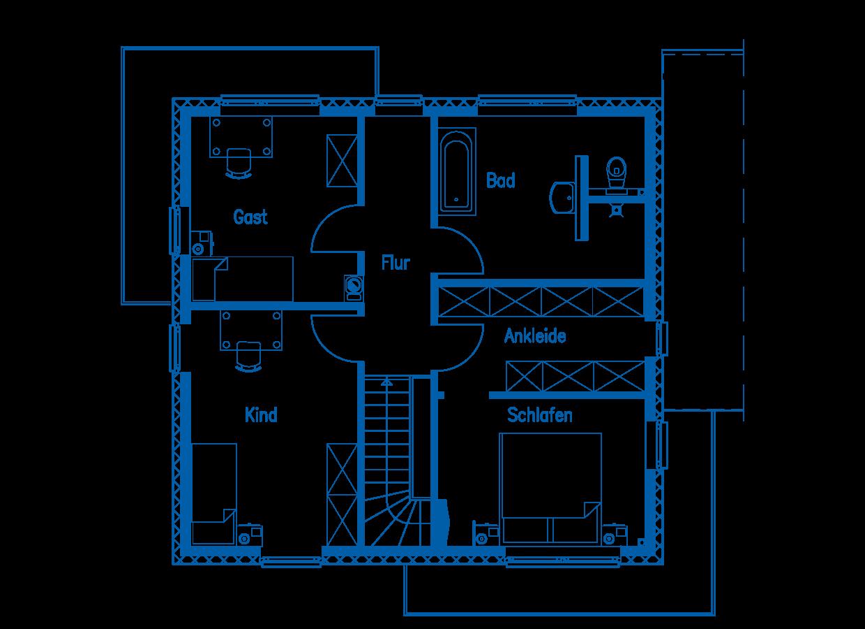 Grundriss Obergeschoss Haus Gehlen PN2320