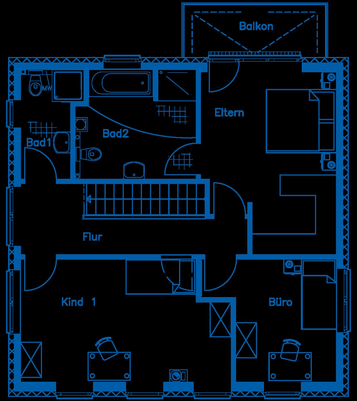 Grundriss Obergeschoss Haus Pätzold PN2347