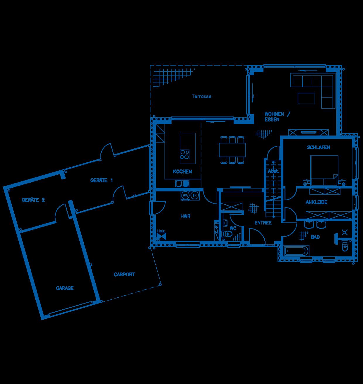 Grundriss Erdgeschoss Haus Weishaupt PN2498