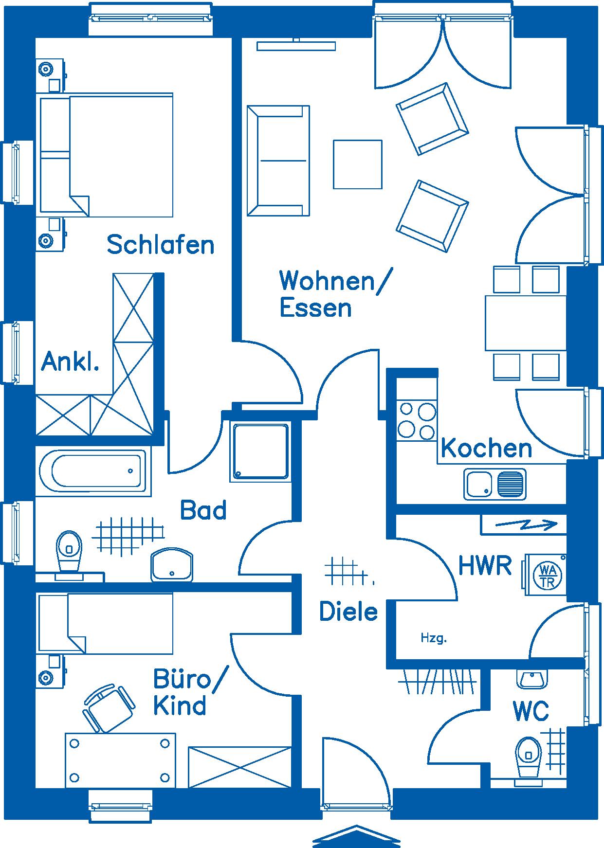 Grundriss Erdgeschoss BL 80 M