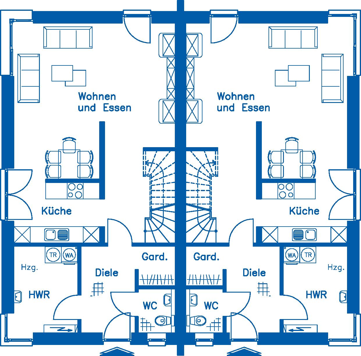 Grundriss Erdgeschoss DH 130 M