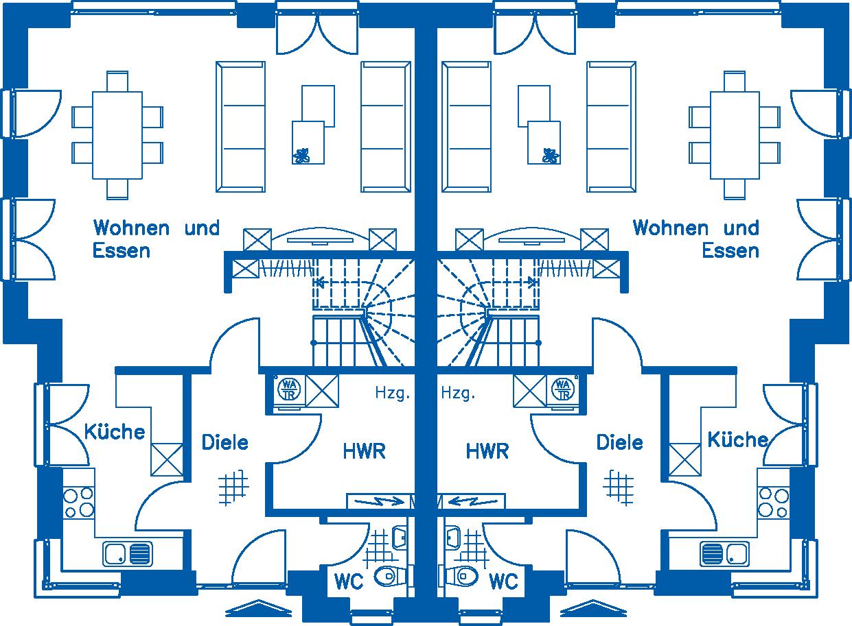 Grundriss Erdgeschoss DH 120 M
