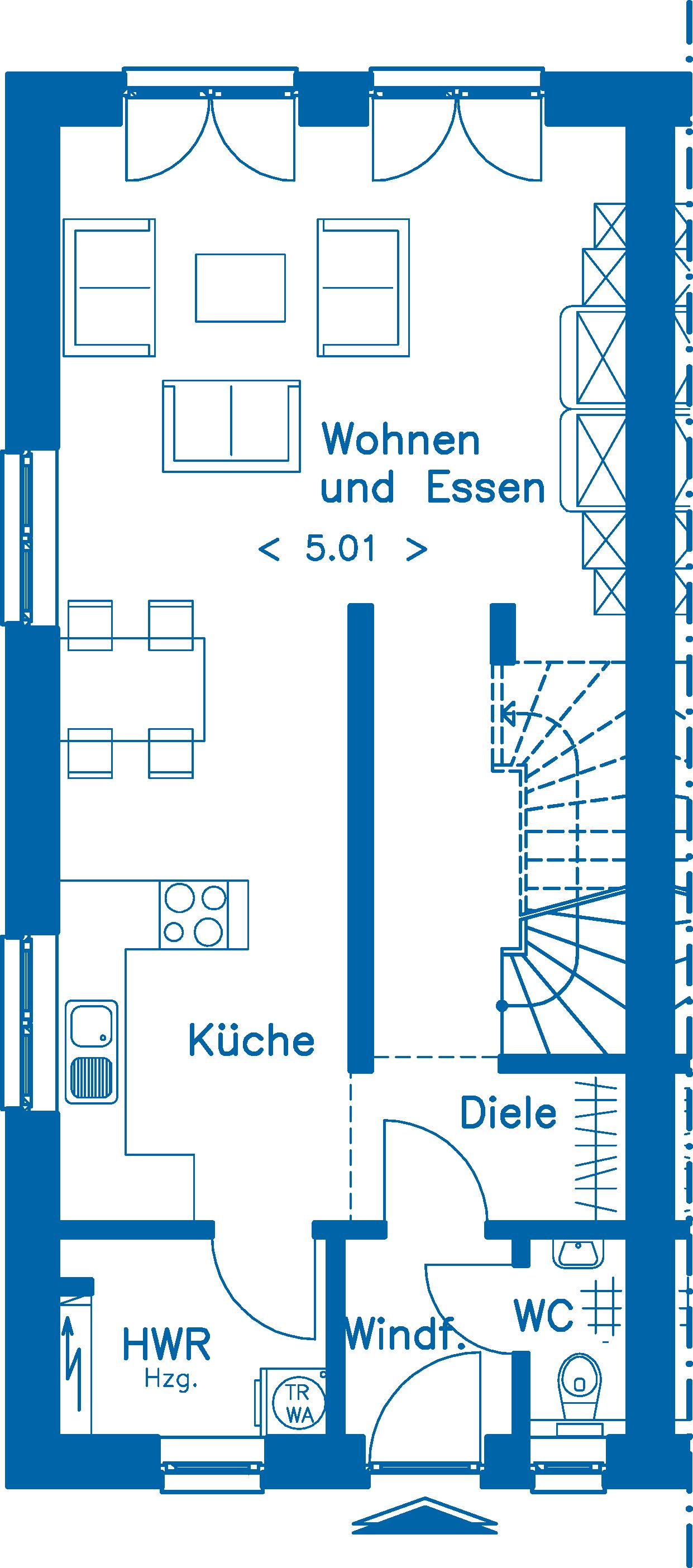 Grundriss Erdgeschoss DH 130 Basis Alternative 1