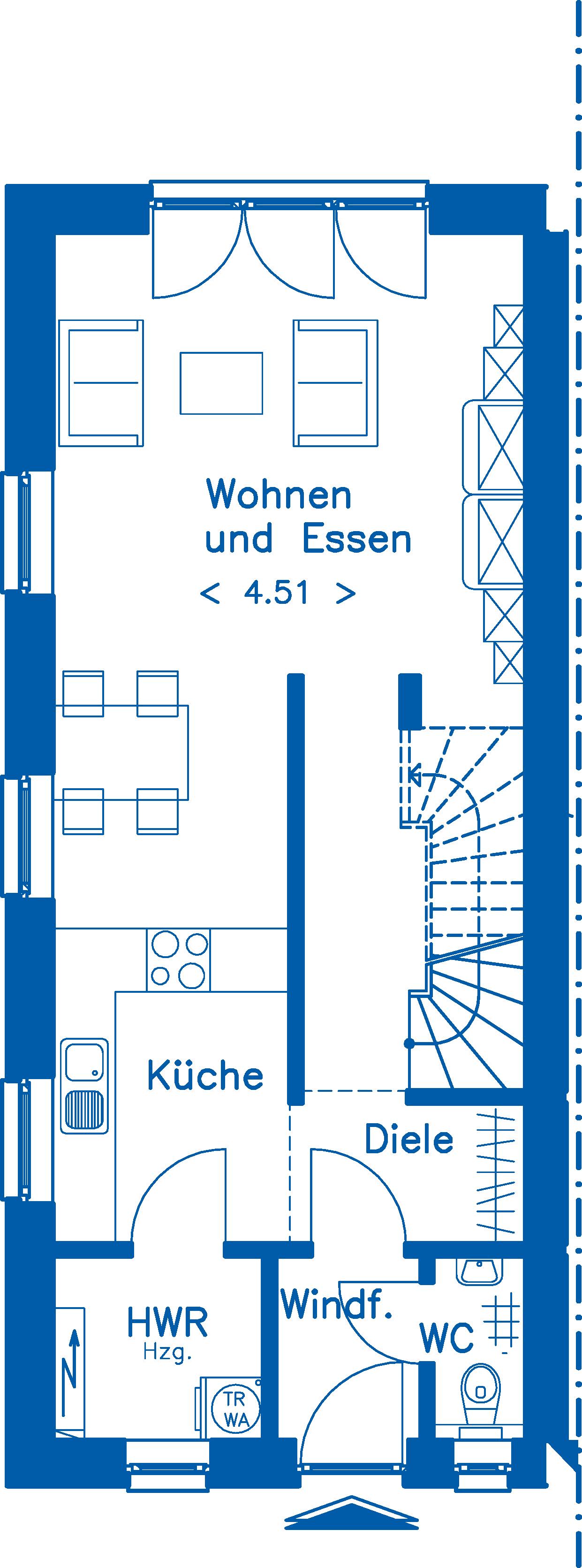 Grundriss Erdgeschoss DH 130 Basis Alternative 2