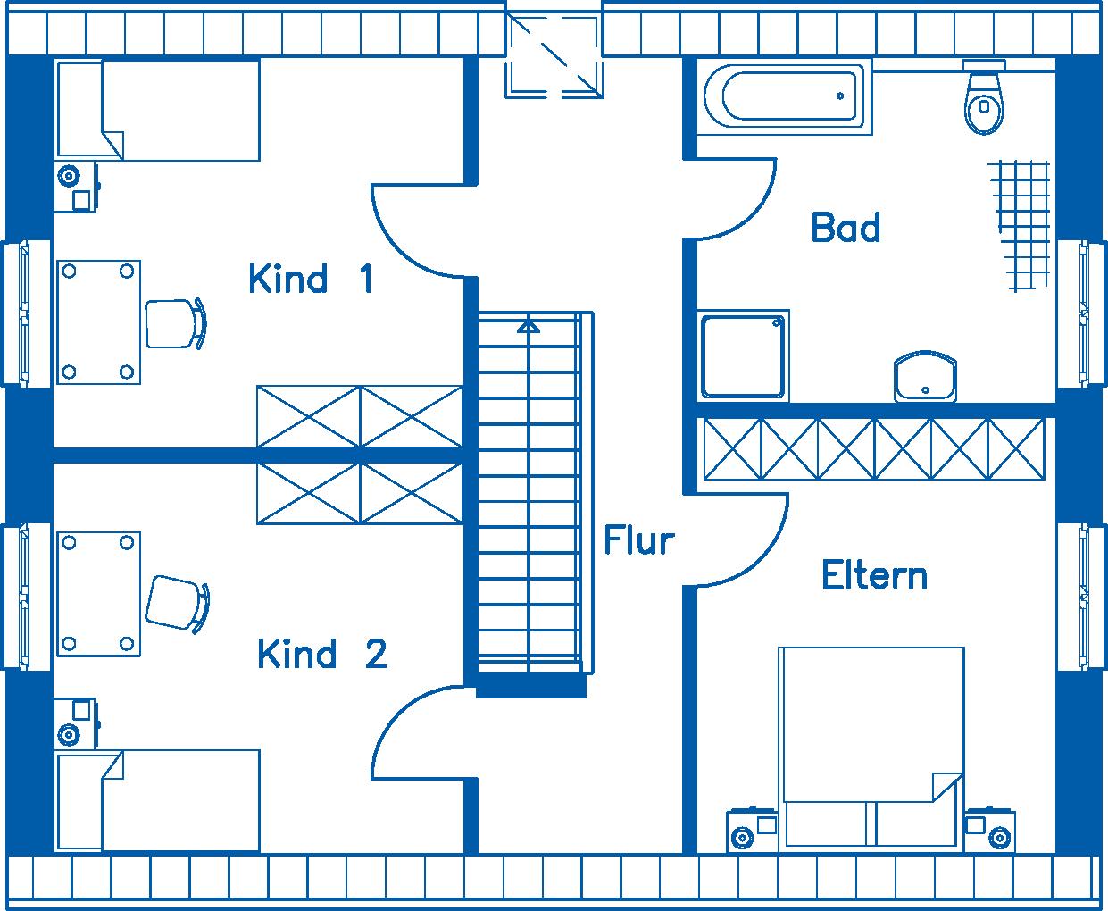 Grundriss Dachgeschoss EH 140 T