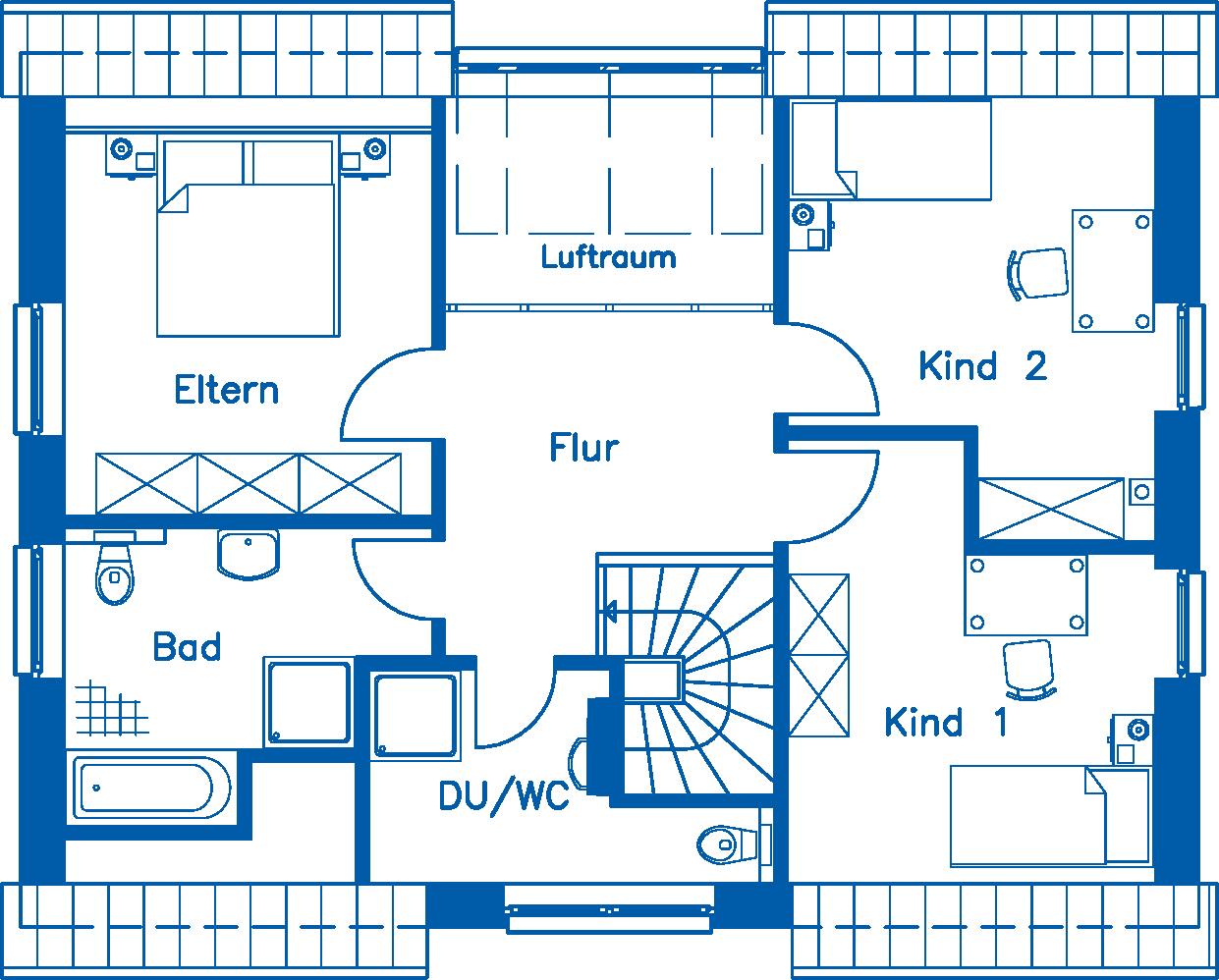Grundriss Dachgeschoss EH 155 M