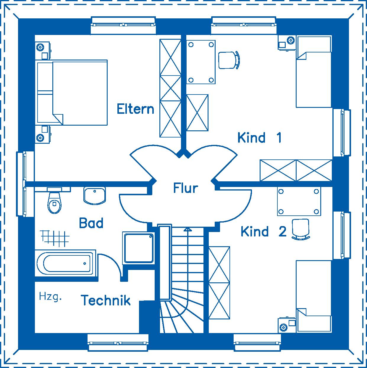 Grundriss Obergeschoss SV 125 Basis