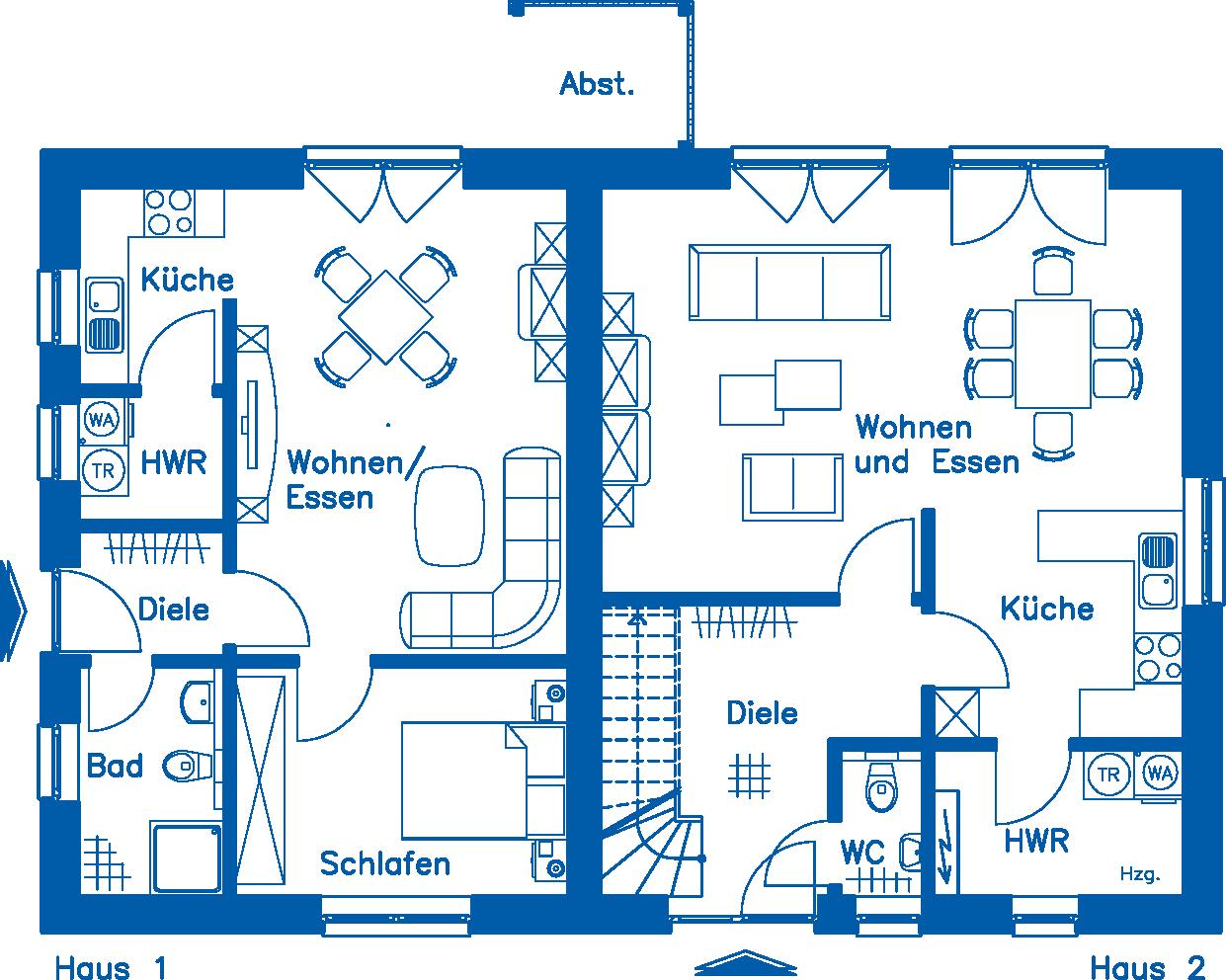Grundriss Erdgeschoss ZH 200 Basis Wohnung 2 Alternative 1