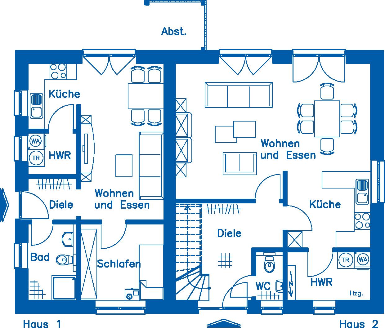 Grundriss Erdgeschoss ZH 200 Basis Wohnung 1 Alternative 2
