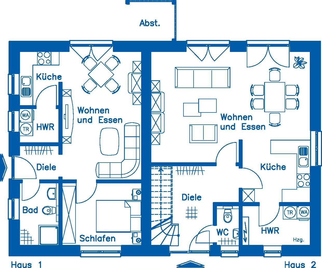 Grundriss Erdgeschoss ZH 200 Basis Wohnung 1