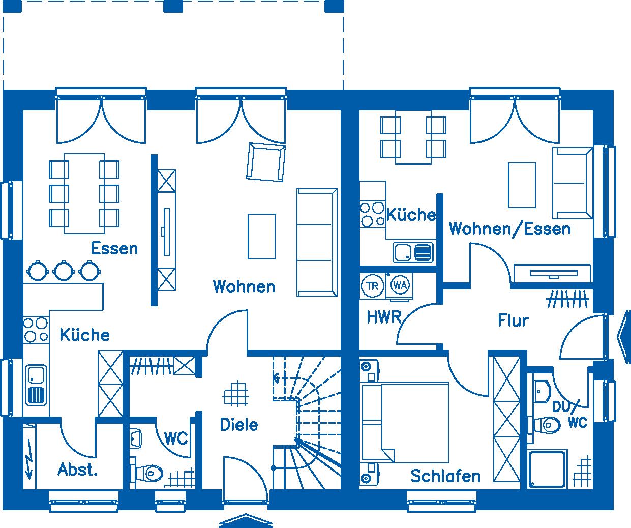 Grundriss Erdgeschoss WHG 1 ZH 200 K
