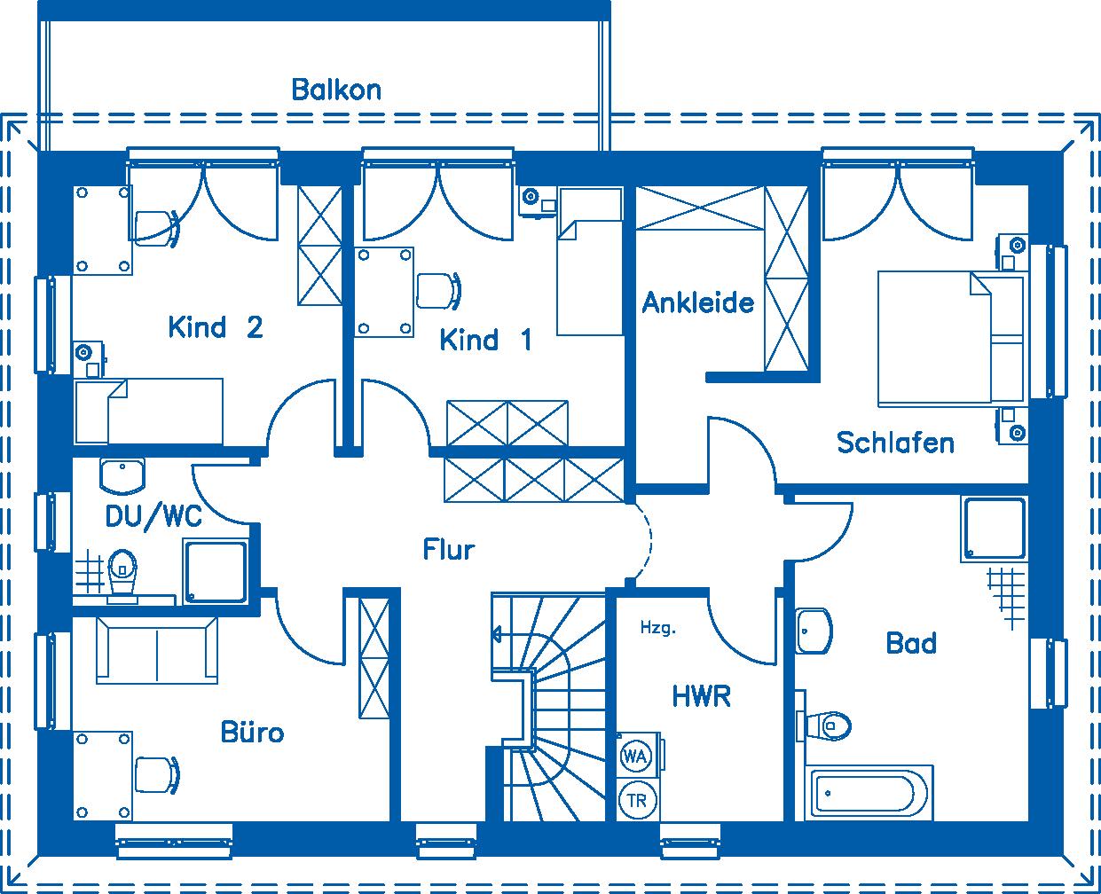 Grundriss Obergeschoss WHG 2 ZH 200 K