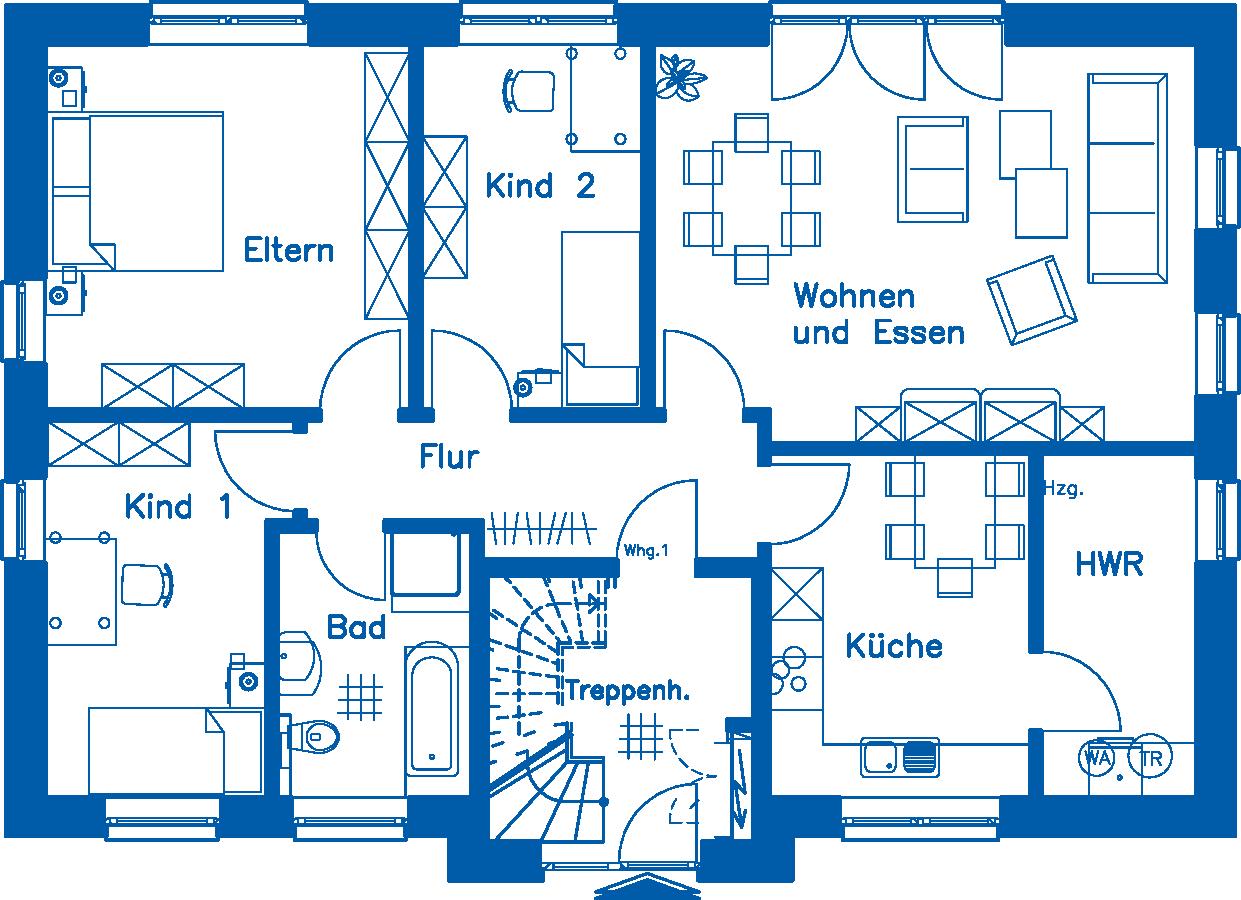 Grundriss Erdgeschoss ZH 210 Basis