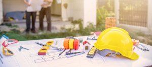 Abbildung Baustelle und Grundrisse