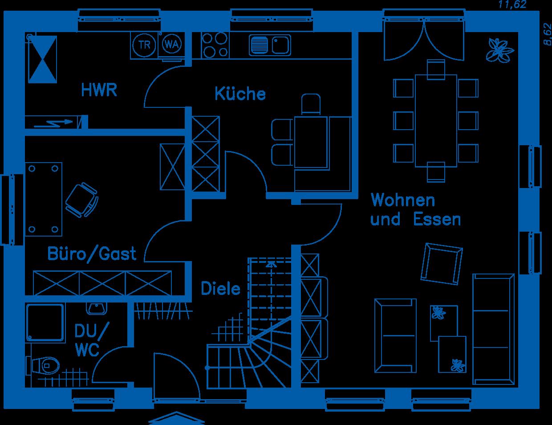 Grundriss Erdgeschoss EH 155 Basis