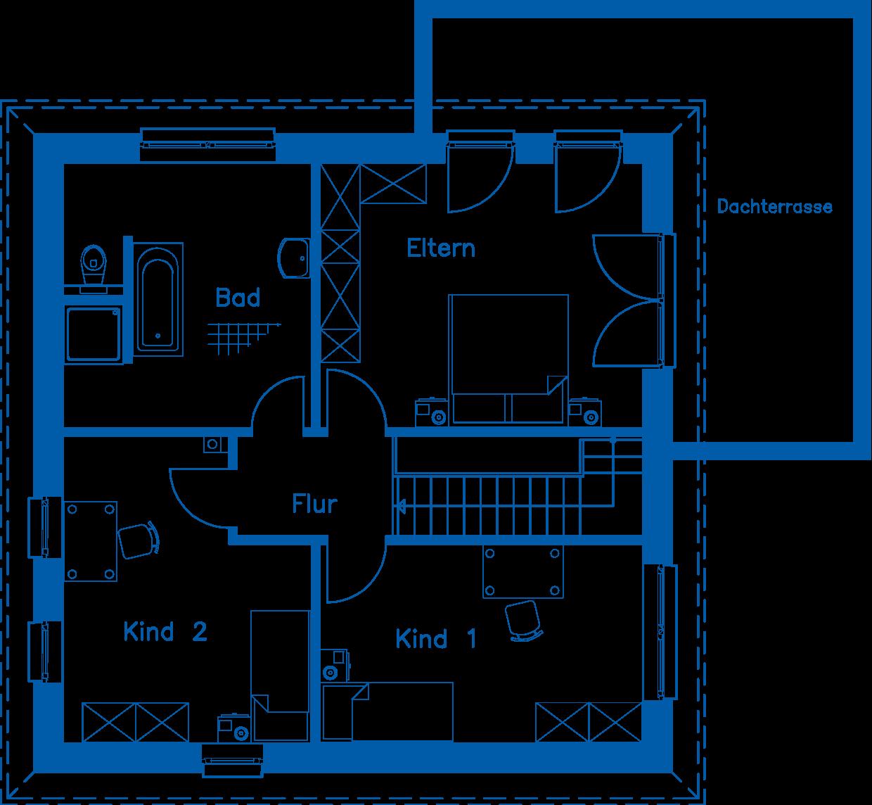 Grundriss Obergeschoss 140 M