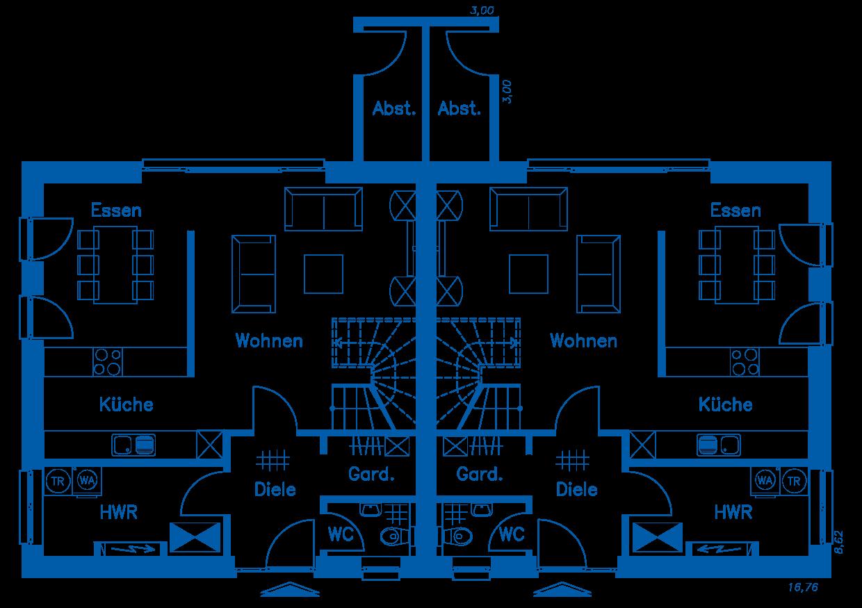 Grundriss Erdgeschoss DH 110 M