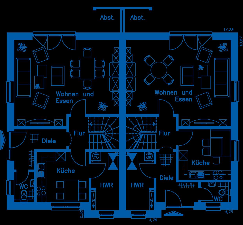 Grundriss Erdgeschoss DH 120 Basis