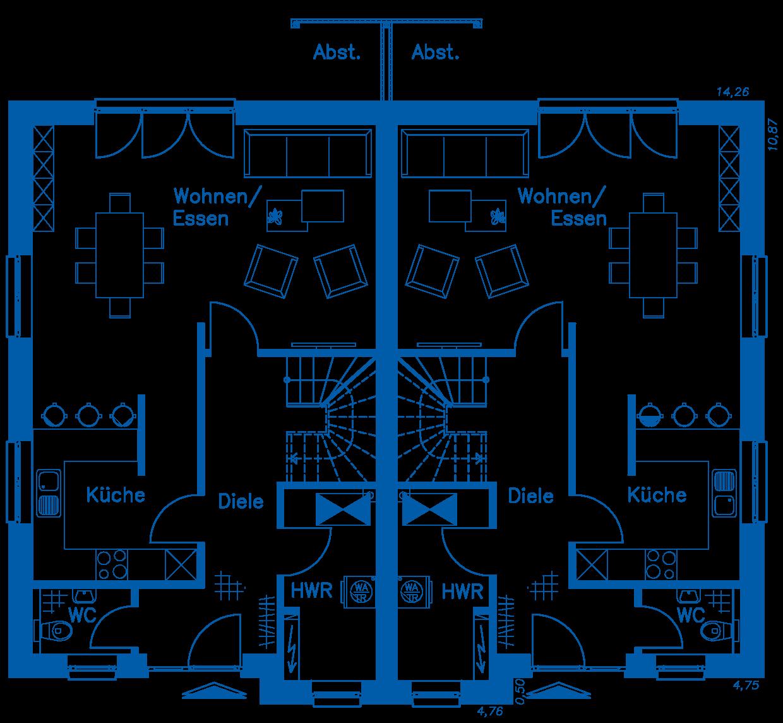 Grundriss Erdgeschoss DH 120 K