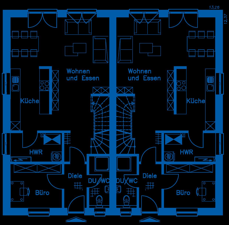 Grundriss Erdgeschoss DH 130 K