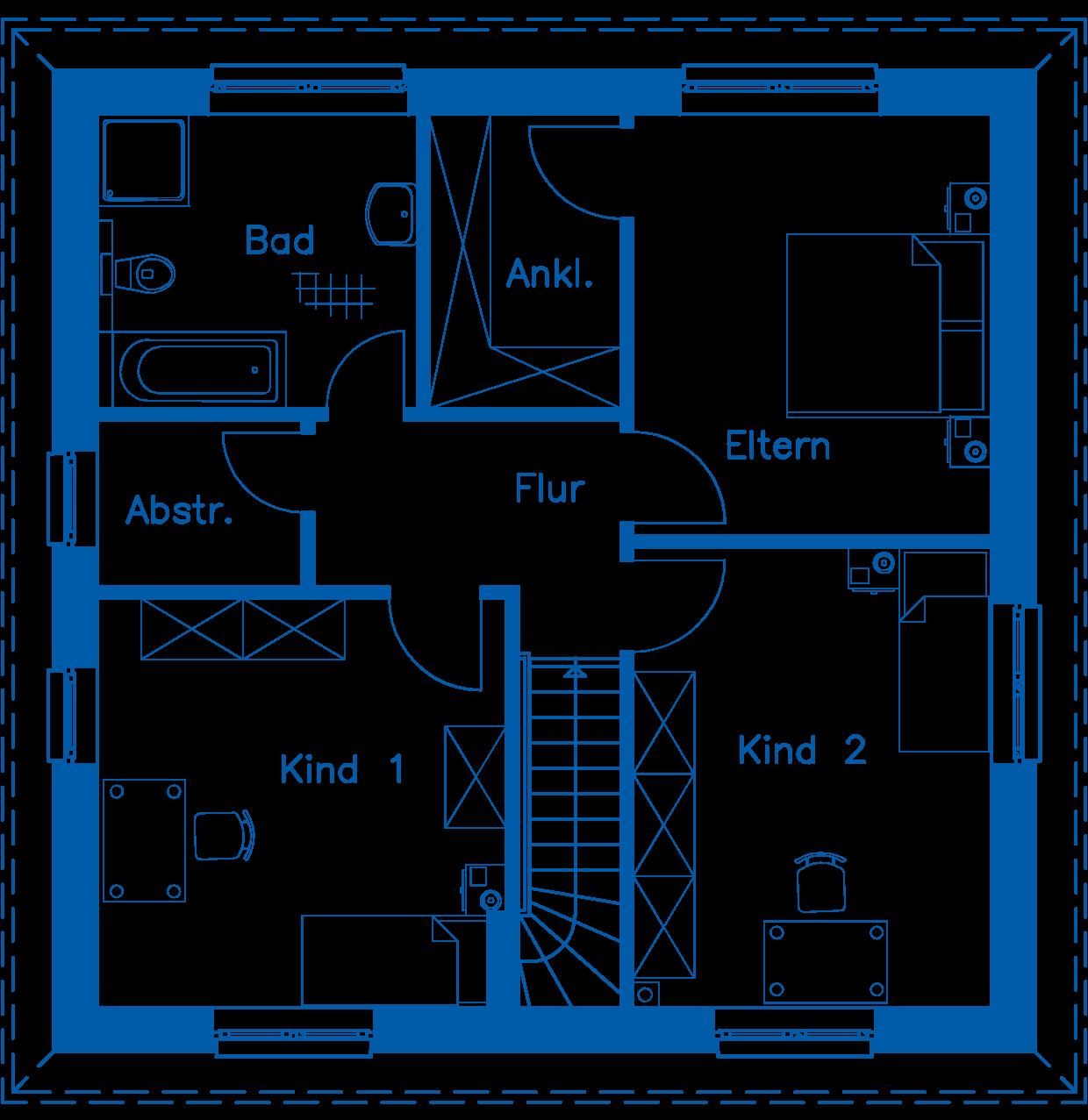 Grundriss Obergeschoss SV 140 Basis