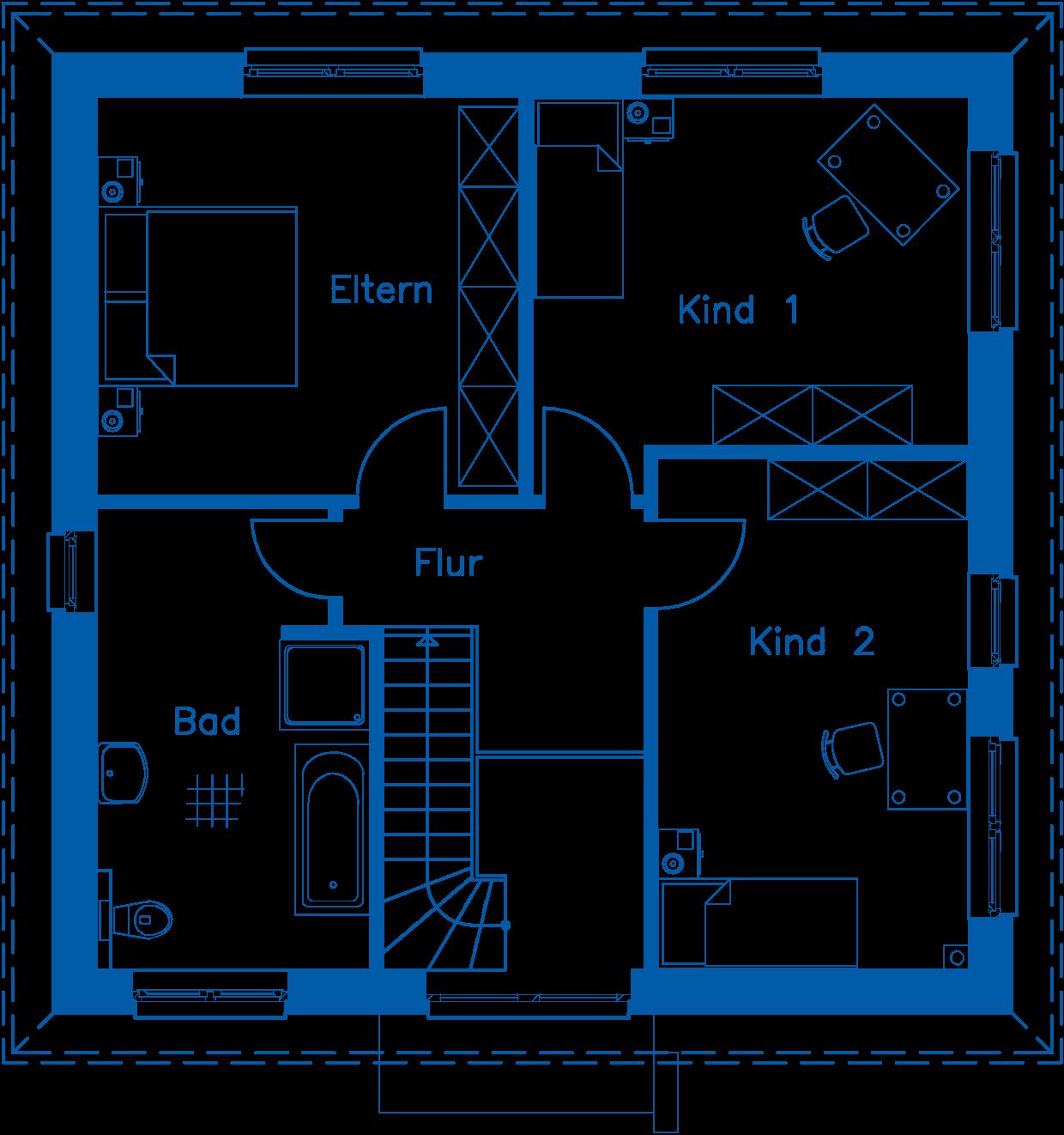 Grundriss Obergeschoss SV 140 T