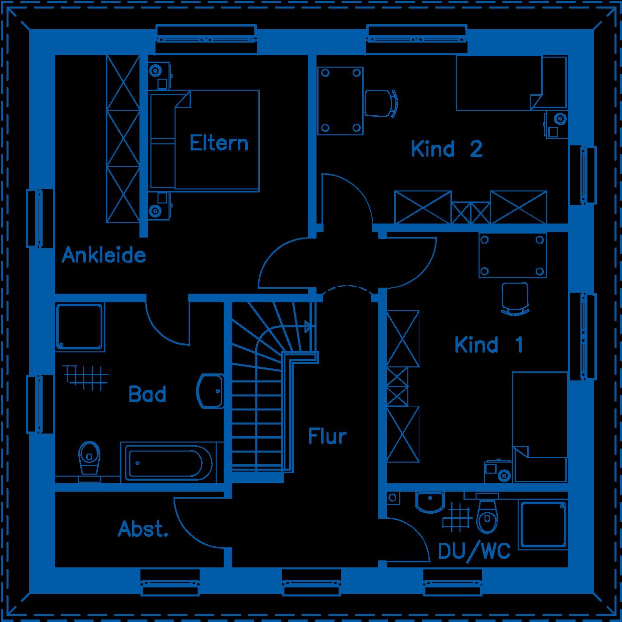 Grundriss Obergeschoss SV 155 Basis