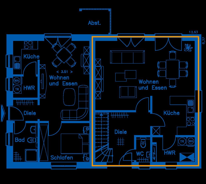 Grundriss Erdgeschoss ZH 200 Basis Wohnung 2